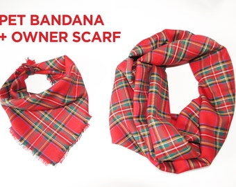 Scarf women scarf men scarf infinity scarf blanket scarf pet scarf pet clothing red dog bandana cat matching dog owner shawl owner cat aserw