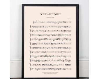 In the Air Tonight, Phil Collins, bedroom art, Printable art poster, kitchen art, bar art, INSTANT DOWNLOAD, sheet music, studio art, 80s