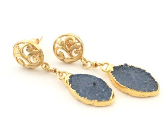 Dark Blue Marquis Druzy with 24K Gold Electroplated Edge with Gold Vermeil Scrollwork Leaf Post Earwires, Agate Druzy, Gifts for Her