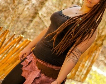 pixie fairy brown earthy rose hand dyed outseams and swirley stitchery pointy pointed hippie gypsy tattered wrap mini skirt