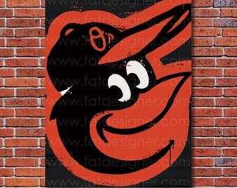 Baltimore Orioles Graffiti- Art Print - Perfect for Mancave