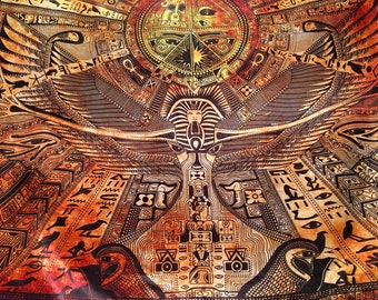 Egyptian Map Tapestry. Hand Drawn Design By Australian Enlighten Artist Clinton Hurst.