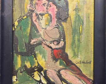 Mid Century Two Lovers Painting 1965
