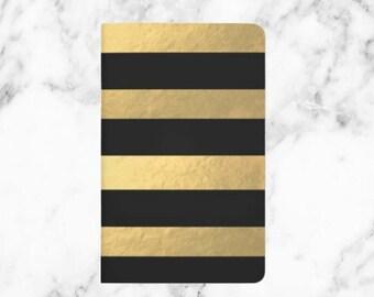 Gold & Black Stripe Journal - Gold Foil - Journal - Girl Boss -