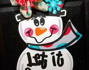 Winter Door Hanger- Snowman Door Hanger, Wooden Snowman Door Hanger, Snowman Decorations, Winter Decor, Snowman Decor, Let it Snow Decor