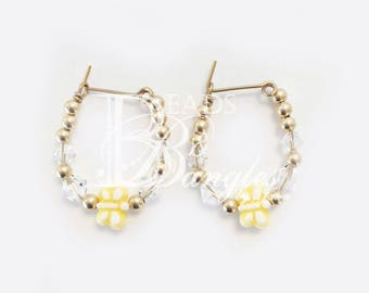 Kids Crystal AB and Butterfly Earrings