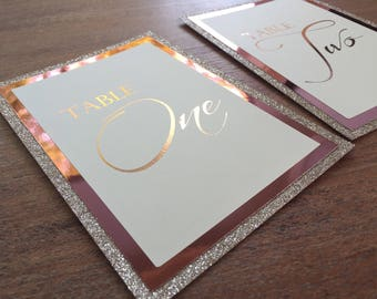 Stunning Handmade rose gold table numbers 1-8 glitter & foil