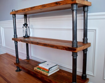 Industrial Bookshelf, Reclaimed Wood Bookshelf, Reclaimed Wood Bookcase, Pipe Bookshelf, Industrial Pipe Bookshelf, Rustic Bookshelf