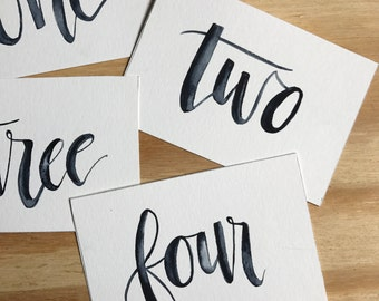 Written Watercolor Table Numbers - Wedding Table Numbers