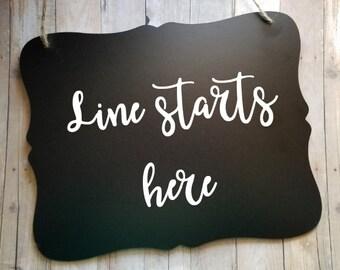 Line Starts Here - Buffett Sign - Reception Sign - Wedding Accessories - Wedding Decor - Wedding Stuff - Wedding Signs - Restuarant Sign