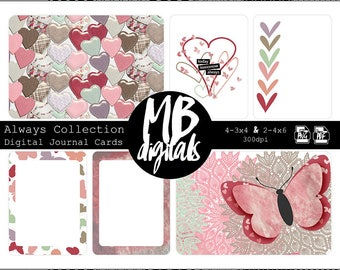 BUTTERFLY and HEART CARDS, Lilac, Pink, Red, Taupe, Mint, Printable Cards, Pocket Scrapbooking, Journal Cards