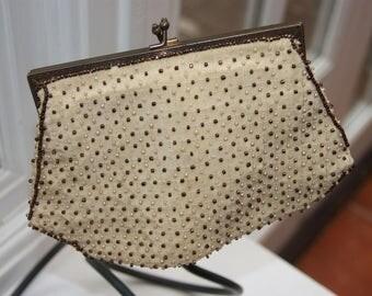1950's Satin Beaded Evening Bag