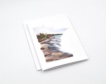 Long Distance State Art Card - Minnesota Notecard - Minnesota Gift - Minnesota Art - Blank Notecards - Minnesota Watercolor - Minnesota