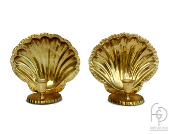 Hollywood Regency Brass Scallop Shell Wall Sconce/Tabletop Candleholder a Pair.