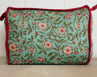 Turquoise toiletry bag, cosmetics bag, makeup bag, travel bag turquoise cotton, gift under fifty dollars