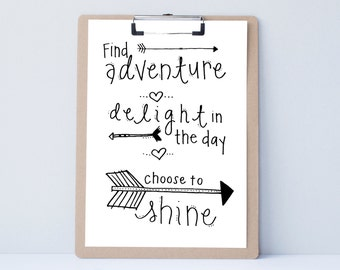 Find Adventure Hand lettered home wall art, print, typography gift, holiday present, bedroomquote, card, mom sister friend dad brother