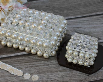 NEW!! Crystal and Pearl Box and Wedding Arras Set , Wedding Lasso Box, Wedding Jewelry Box, Wedding Arras, Jewelry Box,