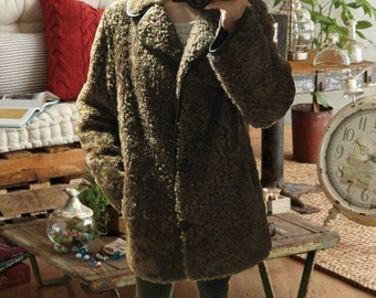 John Patterson of Northhampton vintage 70s Size 3XL brown 100% leather curly brown teddy coat