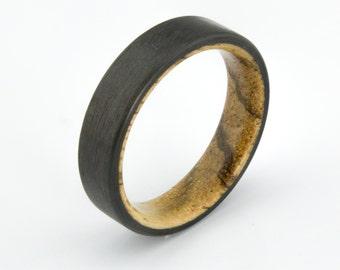 Carbon Fiber ring with  Zebra wood  liner