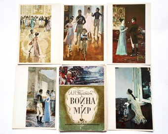 Large Set of 32 Postcards War and Peace by Leo Tolstoy, Artist by A. Nikolaev