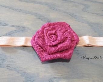 Peach Baby Headband - Magenta Baby Headband - Burlap Baby Headband