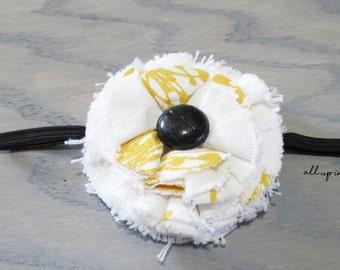 White Flower Headband - Yellow Flower Headband - Sunflower Headband - Baby Headband