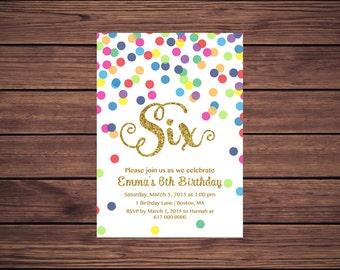 Rainbow Gold 6th Birthday Invitation Girl, Any Age Rainbow Dots and Gold Girl Sixth Birthday Invitation, Polka Dot Printable JPEG 852