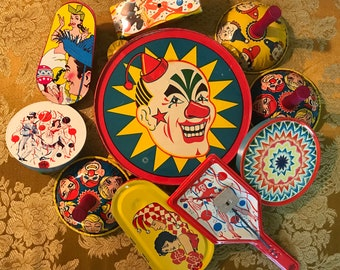 Instant Collection Of 10 Vintage Noisemakers / Lithographed Tin Noise Makers / Clappers Cranks n ' Bells / Kirchhof / U.S. Metal Toy Co