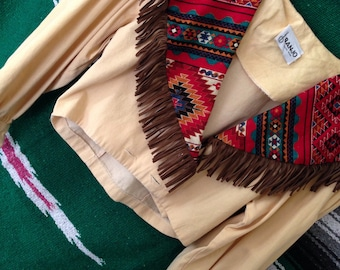 Native American Fringe Button Crop 80's