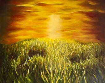 Acrylic Painting Landscape,Acrylic Painting on Canvas, Original Art, Sunset, Sunrise Wall Art, Golds, Brown,Green,Yellow,Made United States