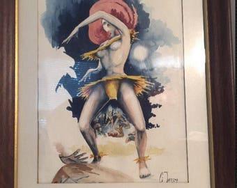 Vintage exotic Polynesian dancer watercolor painting