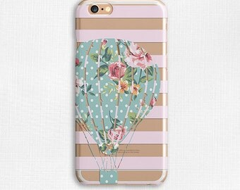 Hot Air Balloon Striped Floral Polka Dot Galaxy S6 Case, Clear Phone Case, Flexible Phone Cover, iPhone 6 Case, Slim Case