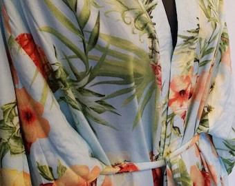 Long pale blue floral & pineapple motif dressing gown