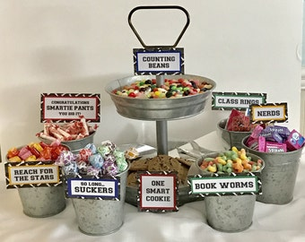Graduation Candy Signs, set of 9 - Candy Bar Sign - Candy Sign - Graduation Party - Graduation Party Favors - Candy Bar - Candy Buffet Sign