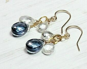 Gemstone Dangle Earrings, Blue Earrings, Elegant Statement Earrings, Blue Quartz White Topaz, Handmade Earrings, Gold Filled, Gift for Her
