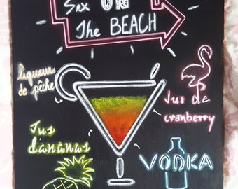 Art painting cocktail Sex on the Beach