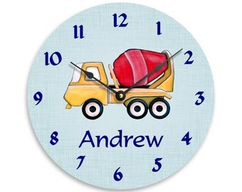 Personalized wall clock for boys. Watercolor cement truck on light blue background 10 inch wall clock. CL3256