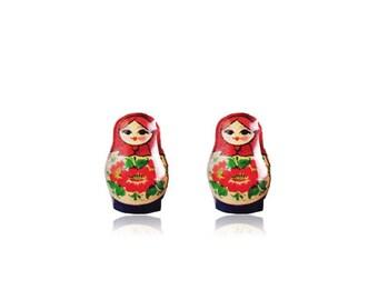 Matryoshka Doll Earrings - Russian Nesting Doll Stud Earrings - Babushka Doll Earrings - Babushka Nesting Doll - Surgical Steel Studs