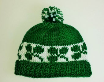 Green Shamrock Baby Hat - Size 6 to 12 Months