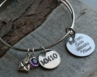 Because I Have a Sister Personalized Adjustable Wire Bangle Bracelet