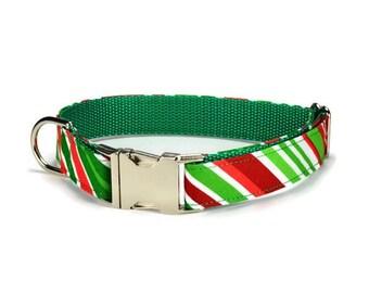Holiday Stripe Dog Collar, Christmas Dog Collar, Holiday Dog Collar, Stripe Dog Collar, Christmas Collar For Dog, Christmas Gift For Dog
