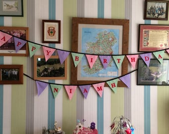 Beautiful Cotton Double Sided Bunting -   Happy Birthday banner
