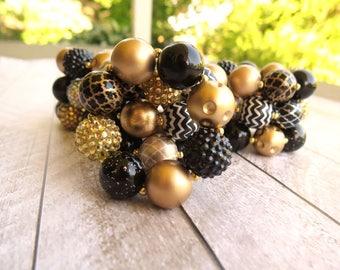 Black and gold bubblegum bracelet for baby girls
