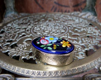 Floral Pill Box, Vintage Pill Box, Silver Pill Box, Enamel Pill Box, Pill Compact, Small Compact, Vintage Vanity, Vanities, Oval Pill Box