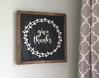 Give thanks, wood sign, thanksgiving, black and white