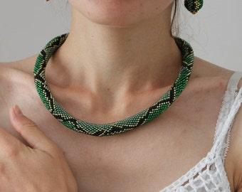 VALENTINE SALE 25% Green Necklace Snake Skin Jewelry Set Necklace Crocheted Necklace Beaded Necklace Green Earrings Snake Bracelet Seed Bead