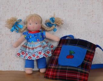 Waldorf doll, pocket doll, rag doll, textile doll, fabric doll, custom doll, cloth doll, small doll, little waldorf doll, doll bag