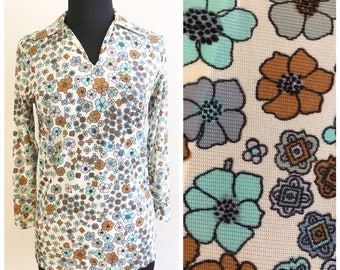 70s FLOWER POWER TUNIC / vintage shirt groovy hippy hippie floral blue retro psychedelic 60s collar collared medium large spring summer fall