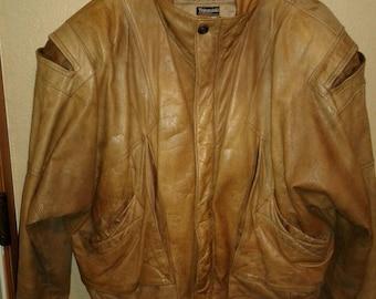 Adventure Bound Original vintage distressed leather jacket thinsulate 3M lining large