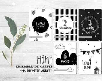 Set of memory-card 'First year of baby', black and white, baby, milestone, gift cards-steps